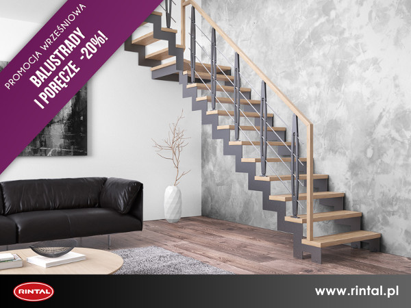 RINTAL POLSKA, wiodący producent SCHODÓW do wnętrz organizuje  PROMOCJĘ: przy zakupie schodów Rintal poręcze i balustrady 20% taniej! Uwaga! Promocja nie dotyczy zakupu samych poręczy i balustrad.  Szczegóły promocji oraz wzbogacona o nowe modele schodów